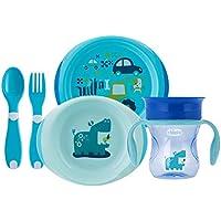 Chicco - Set completo comida, incluye platos + cubiertos + vaso, 12 m+