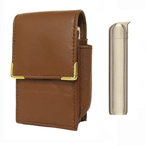 Portasigarette in pelle porta accendino personalizzato con cavaliere Slimline elettronico gas accendino