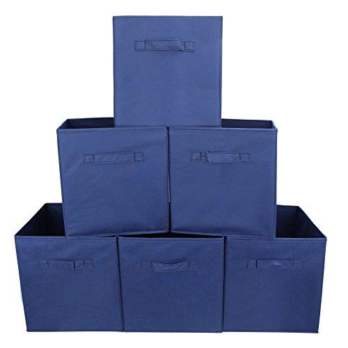 EZOWare 6er-Set Aufbewahrungsbox Faltbare Aufbewahrungskiste Faltbox und Weichem Stoff in Würfelform - Blau -