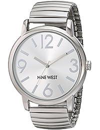Nine West reloj infantil de cuarzo con para mujer plateado esfera analógica y plateado correa de acero inoxidable de NW/1665svsb