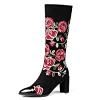 XER Ladies Boots Cow Flipping Chinese Wind Embroidered Thick High Heel High Tube Trend 34-39 Size for Fancy Dress Party, Night Club