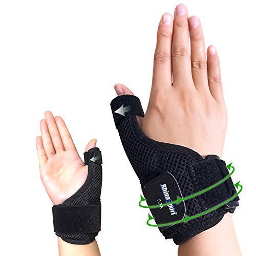 RHINOSPORT Daumenbandage Daumenschiene Schützt Sattelgelenk & Daumengrundgelenk Daumenorthese für Entlastung des Handgelenks bei Verletzungen und Sehnenscheidenentzündung - Links (L/XL)