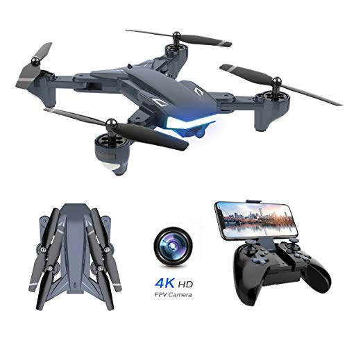 Supkiir 1 WiFi FPV Drone, Foldable RC Quadcopter with 4K HD Camera for Adult, Portable Aircraft Toy for Beginners with Gravity, Image Tracking, Custom Flight Path, Gesture Control