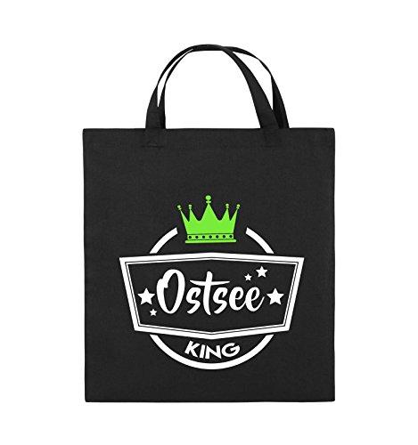 Comedy Bags - Ostsee King - KRONE - Jutebeutel - kurze Henkel - 38x42cm - Farbe: Royalblau / Weiss-Gelb Schwarz / Weiss-Neongrün