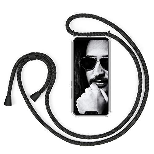 ZhinkArts Handykette kompatibel mit Huawei Mate 20 Lite - Smartphone Necklace Hülle mit Band - Schnur mit Case zum umhängen in Schwarz - Schwarz