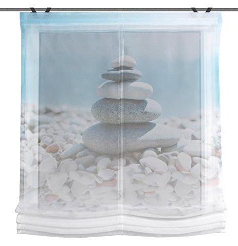 Home Wohnideen Raffrollo Voile Digitaldruck Benosta 1 teilig 140 x 80 cm Blau
