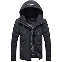 Yvelands Mens Winter Warm Hoodie con Capucha Zip Slim Chaqueta Outwear Manga Larga Viento Abrigo