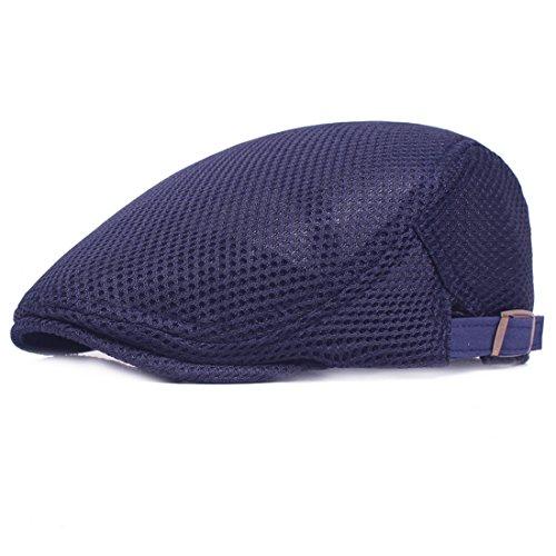Yixda Herren Sommer Breathable Kappe Hut Schirmmütze Gatsby Flat Cap (Blau)