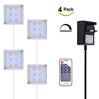 "4-pack 2w 12v Dc Surface Mount Led Puck Under Cabinet Light Kit Incl Dimmer Switch & Power Supply ( 2"" Square, Warm White 3000k ) 0"