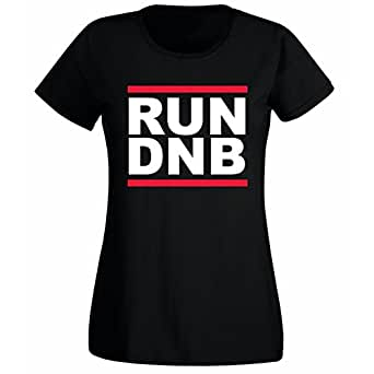 Womens Run DnB Drum N Bass Run DMC Logo Style T-shirt Black UK 6-8 (S)