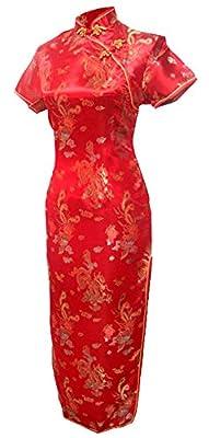 7Fairy Women's Red Chinese Wedding Dress Cheongsam Long Dragon