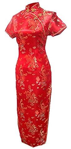 7Fairy Femmes Rouge Chinois Robe de mariee Cheongsam Longue Dragon