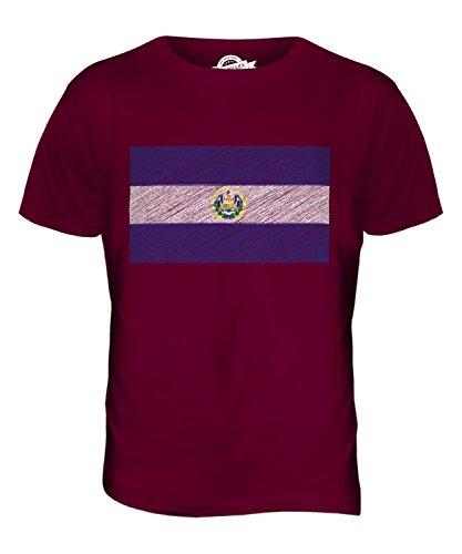 CandyMix El Salvador Kritzelte Flagge Herren T Shirt Burgunderrot