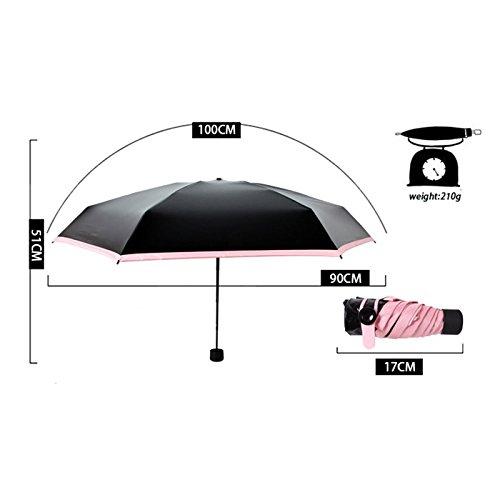 tianu Sunblock UV Schutz Regenschirm - Sonne Regen Regenschirm, Mini Pocket Reise Regenschirm Compact 5, Winddicht, Regenschutz, UPF 50+ (pink) -