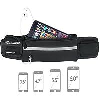 Tagvo Running cintura Pack, con elástico de la correa apto para todas las mujeres hombres anti-bouncing sudor prueba, deporte cinturón con reflectante parche para llevar las llaves, tarjetas, dni, pasaporte, iPhone 6 6S 7 Plus Galaxy