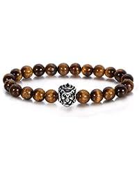 c881a4a7e198 J.Fée Bisutería Fina 1-4 Piezas Leopard Lion Lava Rock Stone Bead Pulsera  para Hombres Mujeres Curación Crystal…