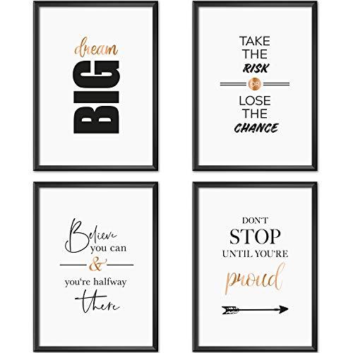 Mia Félice Poster-Set Collage DIN A4 Life Goals | schwarz-weiß Rose-Gold | Dekoration Wohnung modern | Wand-Deko Wohnzimmer | Tumblr Zimmer Wand-Bild | Wand-Bilder Schlafzimmer | ohne Bilderrahmen