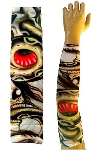 (Inception Pro Infinite W81 - Model 17 - Tattoo Sleeve - Tragbar - Sleeve - Faux Tattoo - Bild - Totenköpfe und Schlange - Tatoo - Halbe Ärmel - Tribal)