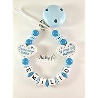 Attache tétine, attache sucette bébé personnalisé perles de bois garçon bleu coeur