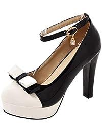 4dc9b04c5865c Kittcatt Chaussure Cosplay Lolita Sweet Mary Jane Escarpins Noeud  Rockabilly Femme à Plateforme avec Bride Cheville