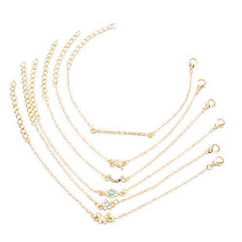 Doitsa 6 Stück/Set Armband Schmuck Set Damen Armband Set Einfache Persönlichkeit Schmetterling Diamant Blatt Augen Rubin Armband Legierung Armband Set Gold