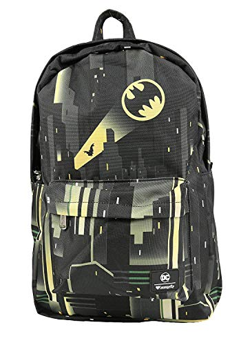 Loungefly X DC Comics Batman Bat Signal Over Gotham City Nylon Rucksack, schwarz (Schwarz) - LOUDCCBK0014