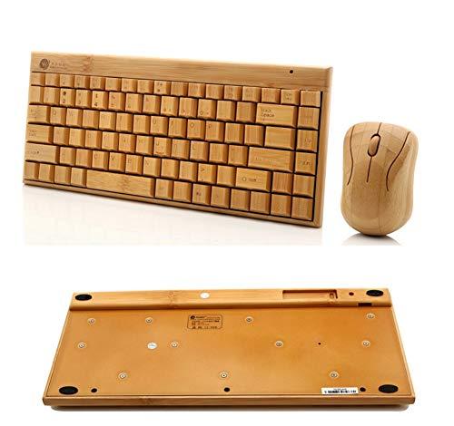 YRRC Mini Wireless Keyboard Bamboo Wireless Keyboard und Mouse Set komfortabel Feel High-Grade Mini Mouse Button Set Green (Wireless Bamboo Touchpad)