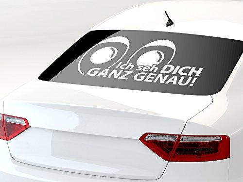 GRAZDesign 740310_70x36_932G Autoaufkleber Auto Heck Aufkleber für Heckscheibe Spruch Ich Seh Dich Ganz (70x36cm//932 Graphit Metallic)