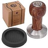 BARISIO Espresso Tamper 51mm aus Edelstahl mit ergonomischem Griff aus Echtholz - Das Kaffee Stempel Zubehör Set inklusive Silkonmatte