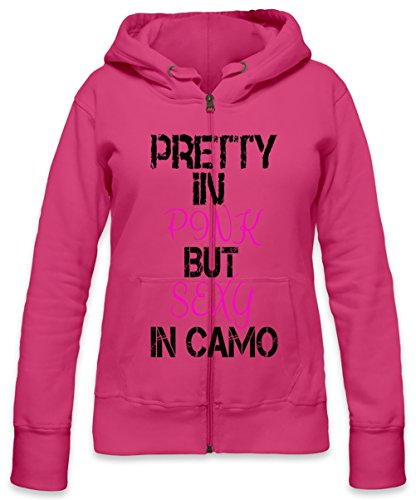 Pretty In Pink But Sexy In Camo Slogan Womens Zipper Hoodie Small