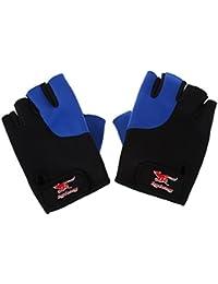 SODIAL(R) 2 Pcs Black Blue Neoprene Fingerless Sports Gloves for Men