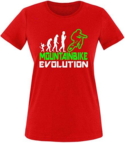 EZYshirt® Mountainbike Evolution Damen Rundhals T-Shirt Rot/Weiss/Neongr