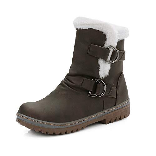 VECDY Damen Stiefeletten, Schuhe Stiefel Booties Damen Klassiker Schnalle warme Schuhe Fell Schnee Stiefel Kurze