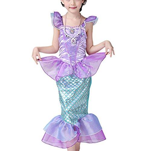 HANMAX Cosplay Mädchen Pailletten Kleine Meerjungfrau Kostüm Prinzessin Kleid Weihnachtsparty ()