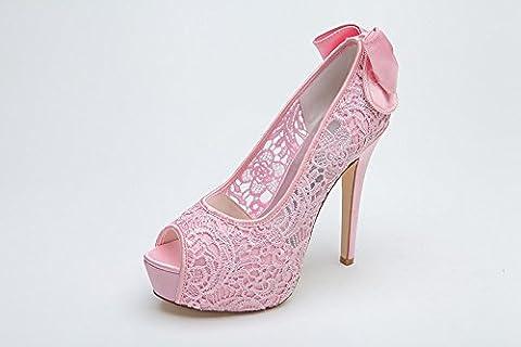 Women Heel Pump Chaussures Sandal Aimant Bow Tie Transparent Lace, Pink, US7.5/EU38/UK5.5