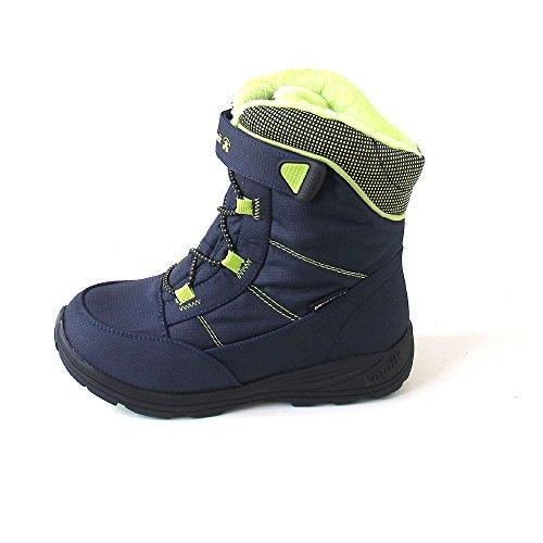 Kamik Unisex-Kinder Stance Schneestiefel Blau (Navy/Lime-Marine/Lime)