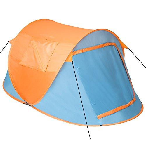 TecTake 800213 - Pop-Up Wurfzelt für 2 Personen, Inkl. Spannseile, Heringe und praktischer Tragetasche - Diverse Farben (Blau-Orange | Nr. 401674)