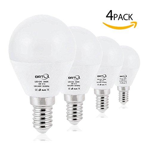 Preisvergleich Produktbild BRTLX G45 LED Lampen E14 5W Warmweiß 3000K 45W Glühbirne Entspricht 220° Abstrahlwinkel 400lm Nicht Dimmbar 4er Pack