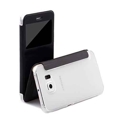 Samsung S6 EDGE Custodia | Peacock nero | iCues Poblano Borsa | Protegge perfettamente il (Vetro Peacock)