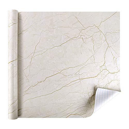 Marmor Folie Klebefolie Selbstklebende Möbelfolie PVC Vinyl Aufkleber DIY Tapete Dekofolie für Möbel Küche Küchenschrank Wasserfest Feuchtigkeitsbeständig Anti-Öl 44.5 x 200 cm -