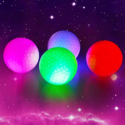 Crestgolf 4 Stück LED Light Up Golfbälle Nachtgolfball Offizielle Größe Glow In Dark Perfekt für Golf-Langstreckenschüsse (pink/rot/blau/grün)