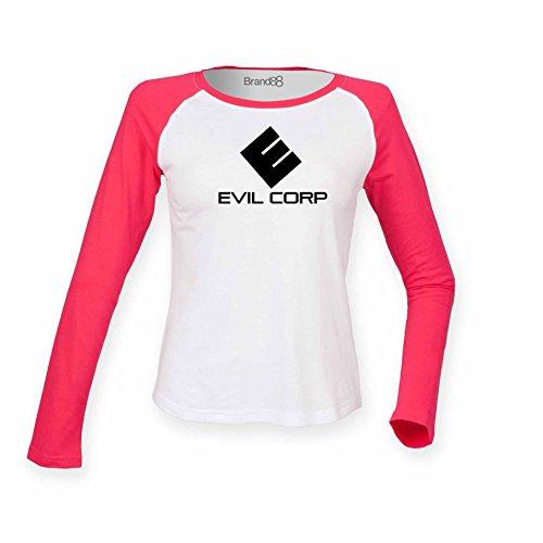 Brand88 - Evil Corp, Damen Langarm Baseball T-Shirt Weiss & Rosa