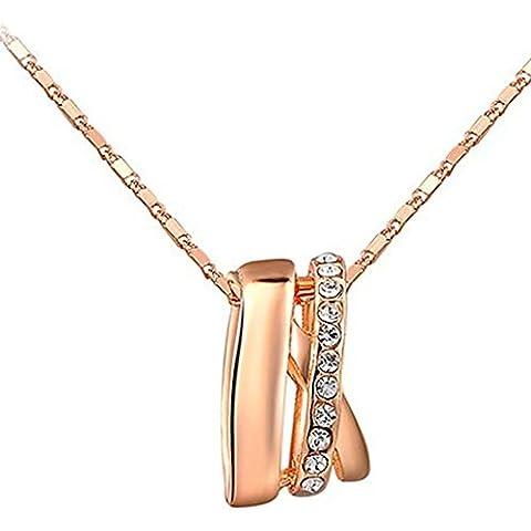 AieniD Joyas de Moda Collar Mujer Chapado en Oro Valla Rose Ronda Oro Colgante Opal Embutido 0.9 x 1.5cm