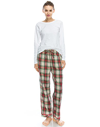 TINFL Frau Plaid Check Soft 100% Baumwolle Flannell Pajama Lounge Sleep Hose 42-Redgreen