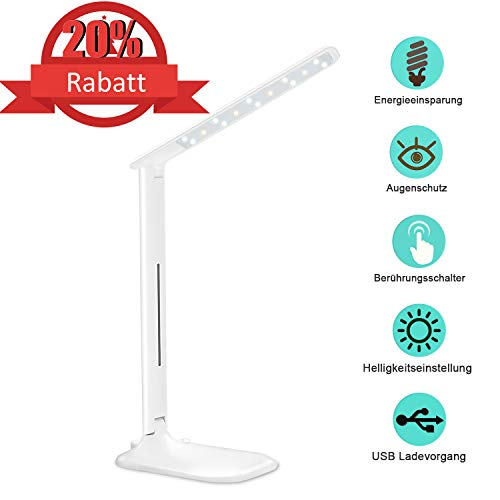 LED Schreibtischlampe, Agedate 5W Drehbare und Klappbar Tischlampe mit USB-Anschluss LED Leselampe 3 Lichtmodi und Helligkeitsstufen Dimmbar, Touch Control Tischleuchte(Weiße)