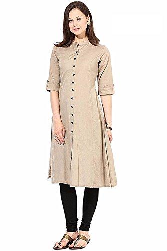 Clothfab Women's Cotton Plain Solid Party Wear Kurti (Kurti 11381_X-Large_Cream)