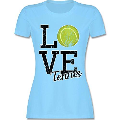 Tennis - Love Tennis - S - Hellblau - L191 - Damen T-Shirt Rundhals