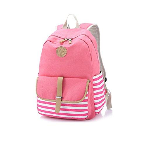 Canvas Schulterbeutel Handtasche Art Und Weise Streifen Student Rucksack pink