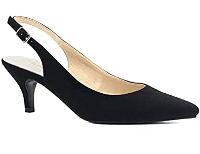Greatonu Women's Pointed Toe Slingback Dress Court Shoes, Black - 3 UK