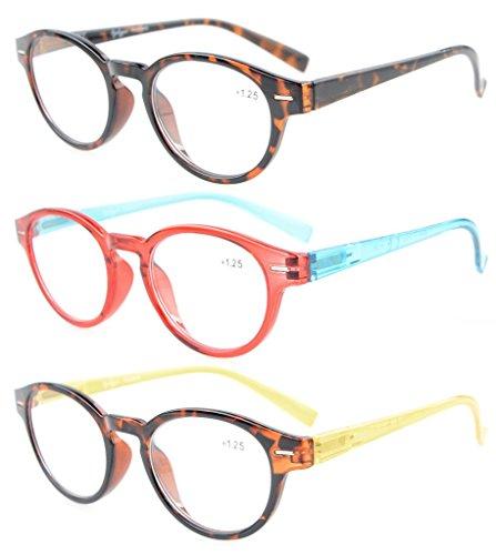 Eyekepper Gafas de lectura 3 Pack brazos con bisagras estilo clasico cristal redonda y vision clara +0.75